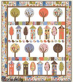 """House quilts really appeal to us, maybe because """"home is where the heart is."""" With a total of 56 free quilt and block patterns. which hous. House Quilt Patterns, House Quilt Block, House Quilts, Quilt Block Patterns, Quilt Blocks, Scrappy Quilts, Mini Quilts, Patch Aplique, Tree Quilt"""