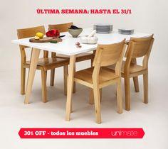 ¡Última semana! 30% de descuento en todos los #muebles. En #Unimate, hasta el 31 de enero. Válido para pago en efectivo.  Visitá www.unimate.com.ar para ver muebles modernos para tu casa.