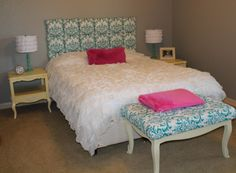 Made the headboard and the bench. Painted the nightstands. Lamps are from PB Teen, bedspread is from urban outfitters.