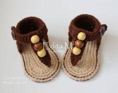 Crochet baby sandalsbaby girl booties shoes baby by EditaMHANDMADE