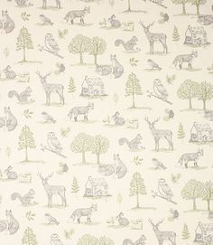New Forest fabric is a great value woodland themed fabric with foxes and stags scattered amongst green trees. Made from 100% cotton and washable at 30 degrees, this fabric is perfect for curtains, blinds and cushions. It is also suitable for light weight upholstery.