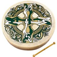 Green Celtic Cross Bodhran Drum from the Irish Shop Irish Instruments, Musical Instruments, Celtic Pride, Irish Celtic, Celtic Designs, Cross Designs, Irish Drum, Bodhran Drum, Frame Drum