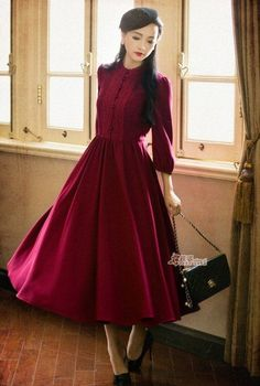 Womens Round Collar Princess New Vintage Lolita Dress Chinese Long Dress Costume Modest Dresses, Modest Outfits, Modest Fashion, Pretty Dresses, Beautiful Dresses, Fashion Dresses, Fall Dresses, Long Dresses, Wedding Dresses