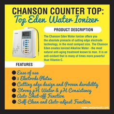 Chanson Counter Top: Eden Water Ionizer http://www.ionizeroasis.com/blog/chanson-counter-top-eden-water-ionizer/