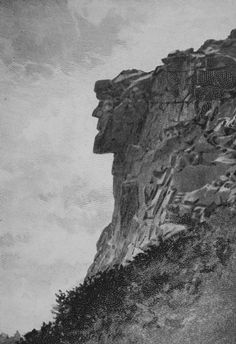 New Hampshire ~ The state's most famous natural rock formation ~ The Old Man of the Mountain. His rock face is 25 feet wide and measures 40 feet from chin to forehead. Geologic events carved this profile into the granite ledges 200 million years ago. (The face fell off in 2003.) I saw it during a trip to the White Mountains as a child, and remember it fondly.