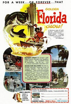 1954 Florida Travel Ad - Vintage Florida State Tourism - 1950's Fishing Fisherman Boating Beaches - Travel Illustration Art Print Wall Decor by zippitydoodlepaper on Etsy https://www.etsy.com/listing/234826212/1954-florida-travel-ad-vintage-florida