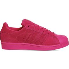 ADIDAS Superstar 1 suede trainers ($100) ❤ liked on Polyvore featuring shoes, sneakers, eqt pink mono, lace up sneakers, rubber sole shoes, pink sneakers, lacing sneakers and adidas shoes