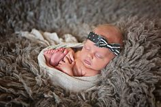 Baby girl headtie with grey bow newbornprop by BomBomBabeCreations