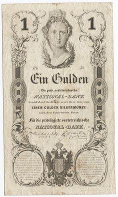 1 GULDEN 1848 (AUSTRIA MIT MAUERKRONE) Österreich Money Paper, Banknote, Hungary, Austria, Stencil, Graphic Art, Vintage World Maps, Sketches, Stamp