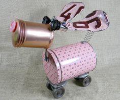 LOVE! BLUSH think pink Reclaim2Fame Robot Dog by reclaim2fame on Etsy, $129.00