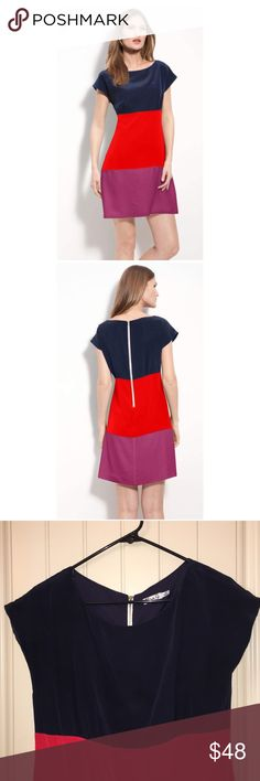 ELIZA J Colorblock Silk Crêpe de Chine Dress sz 12 This is a ELIZA J Colorblock Silk Crêpe de Chine Dress sz 12, back zip! Gently used condition! I ship fast! Happy poshing friends! Eliza J Dresses Midi