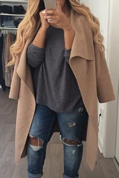 Turn-Down Collar Solid Color Woolen Coat
