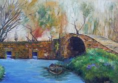 Alqantara Bridge   Artist  Layla Munla   Medium  Painting - Oil On Canvas   Description  Orontes River, Alqusair, homs