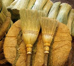 Mother's Helper Broom Set in Natural - Kitchen Broom and Children's Broom - Sisterhood- Gift Set Broom Corn, Witch Broom, Kids Broom, Old Man Face, Whisk Broom, Organic Cleaning Products, Natural Kitchen, Fireplace Tools, Hearth And Home