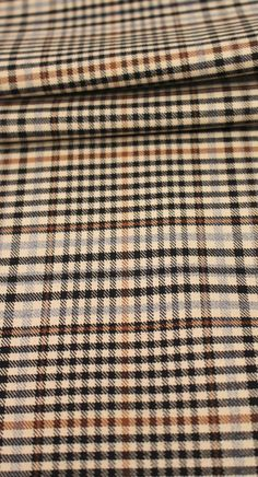 "60"" Brushed Plaid, Black, Grey and Rust on Creamy Background (6 Yards Available)"