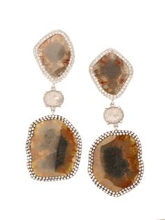 London Jewelers Collections 18K White Gold Double Brown Diamond Earrings!