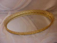 Vintage Hollywood Regency Vanity Tray w Mirror Gold-tone Filigree Ornate Oval LG