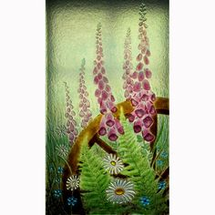 """ROBERTA AYLES """"Wheelwright's""""  Fused glass panel for an internal window in a former wheelwright's cottage. I used fibre paper, plaster, kiln..."""