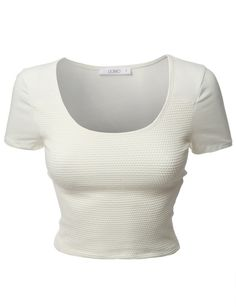 2e05de9f54 LE3NO Womens Stretchy Fitted Short Sleeve Scoop Neck Cropped Top (CLEARANCE)