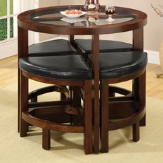 Furniture of America Crystal Cove Dark Walnut Dining Set with Round Table at Lowe's. This unique space efficeint design is perfect for small areas. The round glass table top is complemented with wedge shaped padded leatherette stools that Pub Dining Set, Pub Table Sets, Pub Set, Dining Room Sets, Pub Tables, Kitchen Dining, Dining Tables, Ikea Dining, Round Dining