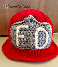 Crochet Fireman Hat--Photo Prop--Fun Playtime Hat--Made to Order