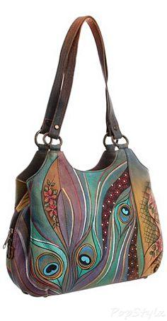 Anuschka Dancing Peacock Leather Handbag