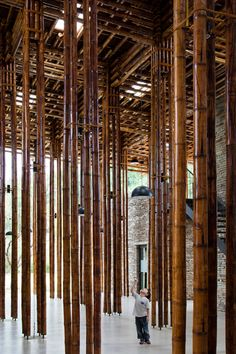 Clustered lengths of bamboo create a forest of columns inside this restaurant.