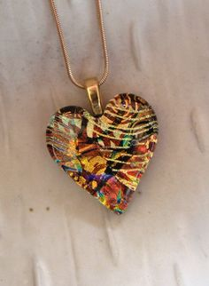 AUSTIN!!!! I love this!  Fused Dichroic Glass Heart Pendant, Necklace Included, Copper, Gold, One of a Kind