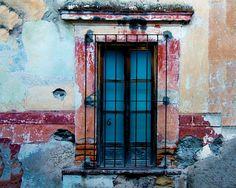 Antigua Guatemala Photo, Rustic Wall Red Blue Window Mexico Photograph Southwestern Style Shabby Chic Wall Art lat3