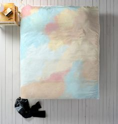Blue + Blush Duvet, Watercolor Duvet, Queen Duvet, King Duvet, Twin Duvet, Abstract Duvet Cover, Light Blue Bedding, Blush Bedding, Nude
