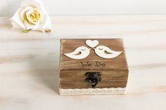 Welcome and thanks for visiting my store!  Wooden Ring Bearer Box is great for your most special day - Wedding day. Adorable way to present the most symbolic and enduring portion of your wedding ceremony!  Dimensions are: 5x3 1 / 2 x 2 1/2   *** Please note that this is an original MyHouseOfDreams copyrighted design, do not copy! When you buy a piece of MyHouseOfDreams original art you are buying a truly keepsake, made of lots of love and personal attention.  We specialize in rustic and…