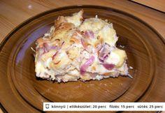 Füstölt sajtos-lilahagymás kenyérpuding