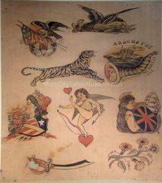 Some great designs http://www.motorcitytattoomuseum.com/images/vintage%20tattoo%20flash/tom%20berg%202.jpg