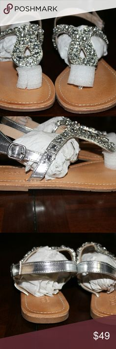 """RHINESTONE EMBELLISHED T-STRAP SANDALS SPARKLE AND SHINE YOUR WAY INTO WARM WEATHER....THESE ADORABLE SANDALS HAS A SMALL BUCKLE... HEEL HEIGHT 1/2"""" Shoes Sandals"""
