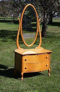 Circa 1910 Birdseye Maple Princess Dresser Vanity with Oval Bevel Mirror | eBay....34--19d