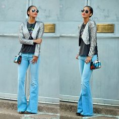 fall looks: flared jeans & sequins