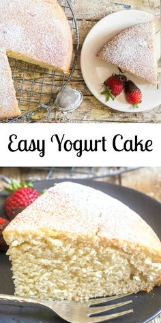 A super easy healthy Greek yogurt cake recipe, delicious and moist, strawberry, blueberry you decide, Greek yogurt or non! Cake Easy Yogurt Cake - Any flavour yogurt makes this cake different everytime! Greek Yogurt Dessert, Greek Yogurt Recipes, Recipe With Vanilla Yogurt, Easy Yogurt Cake Recipe, Greek Yogurt Cupcakes, Greek Yoghurt, Healthy Cake Recipes, Dessert Recipes, Heart Healthy Desserts
