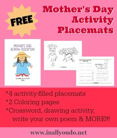 {free} Mother's Day Activity Placemats - In All You Do