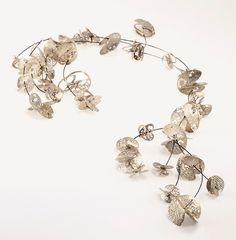 Maria Tsimpiskaki Necklace: Interlaced 2012 Sterling silver, steel wire, pearls