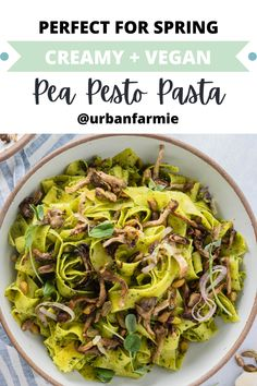 This delicious, vegan spring pasta is made with a pea shoot pesto and has roasted oyster mushrooms for maximum flavor - better yet, it only takes 30 minutes! With some sleuthing and sequencing, you can build some pretty complex flavors with vegan ingredients in just 30 minutes! I have included instructions for roasting your oyster mushrooms in both the oven and the air fryer! Vegetarian Recipes Easy, Veggie Recipes, Pasta Recipes, Veggie Food, Pesto Pasta, Dinner Party Recipes, Dinner Ideas, Vegan Dinners, Pasta Al Pesto