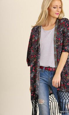 e713125cbd8 Open Front Print Kimono with Fringe Hemline Delicate floral print paired  with front beading is the features of this open front kimono.