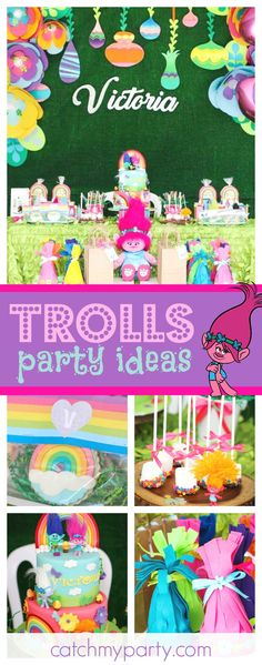 Check out this fun Trolls birthday party!! The birthday cake is amazing!!! See more party ideas and share yours at CatchMyParty.com
