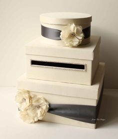 Card Box (Ivory Box, Grey Ribbon & Dusty Pink Flowers)