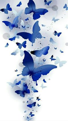 A gorgeous wash of blue butterflies flying upwards towards their destiny.