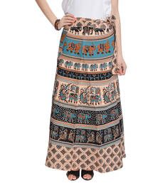 Buy Beige Bagru Printed Cotton Wrap Around Long Skirt skirt online ...