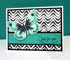 Stampin' Up! Watercolor Wings stamp set and Go Wild DSP card. SU Butterfly Cards #StampinUp #WatercolorWings #GoWild