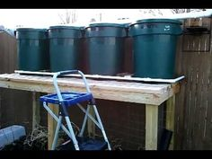 How to build a 125 gallon rain barrel system(gravity fed). I'd empty water directly into one barrel w/ a solid filter, and connect all the barrels using pipes going between each so they all fill up. Emergency Supplies, Emergency Preparedness, Survival, Emergency Planning, Rain Collection System, Water Collection, Rain Barrel System, Aquaponics System, Water Storage
