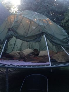 The Todd's latest Evil Genius Invention: our twins are kinda bored with our trampoline, so he re-created it into a dome tent for fall and winter. It can be a boy's fort, or a luxurious princess paradise. Guess which one Jenn, Zoe and I picked? Plus full i