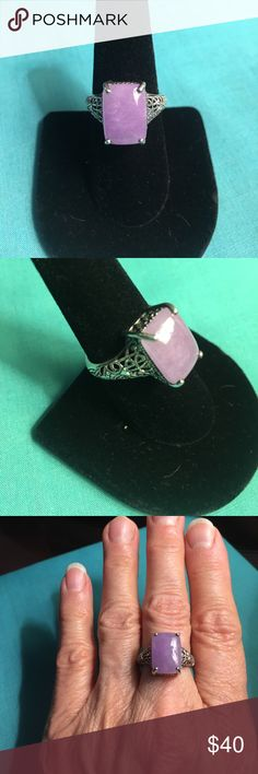 Sterling Silver & Genuine Purple Jade Ring Sterling Silver, Jade Antique Style Filigree Ring. Four prong raised mount. QVC Jewelry Rings