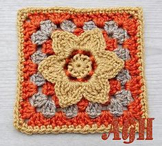 "Golden Harvest - free crochet 6"" square pattern by ag handmades"